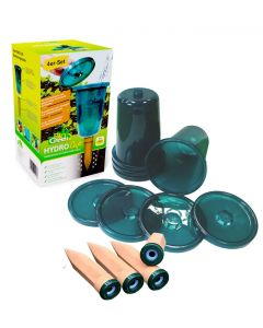 """Raised Bed Watering System """"Hydro Cup"""" - 4 Watering Stakes + 4 Cups"""